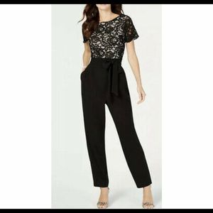 NWT Jessica Howard Lace Illusion Belted Jumpsuit